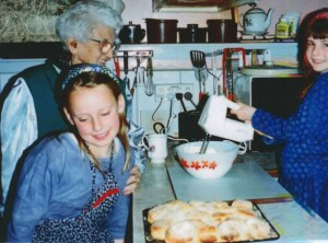 My daughters, Anne and Mary Jane, after baking scones with Nana, 1994