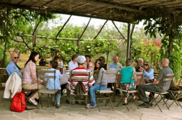 Outdoor picnic in Tuscan garden.
