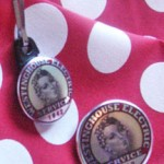 Rosie the Riveter pin zipper pull, Rosie the Riveter collar pin, Rosie the Riveter employment badge, Rosie the Riveter ID pin, Rosie the Riveter, Rosie the RIveter red and white polka dot bandana, Rosie the Riveter red and white polka dot scarf