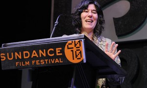 Debra Granik, director of Winter's Bone, accepting a 2010 Sundance Festival award. (AP)