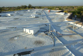 A large rooftop installation in progress.
