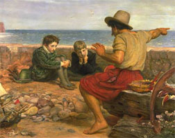 1870 painting, The Boyhood of Raleigh, by John Everett Millais: A young Sir Walter Raleigh and his brother listening to a sailor's tales.