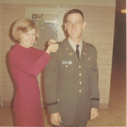 Carol pins Lieutenant's Bars on David Covin, Sr., Nov 18, 1968
