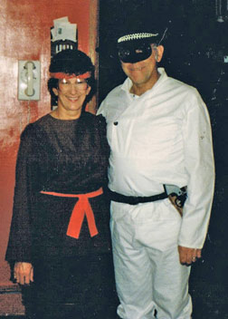 The entire family liked Halloween. Here's Mom and Dad dressed for the occasion.