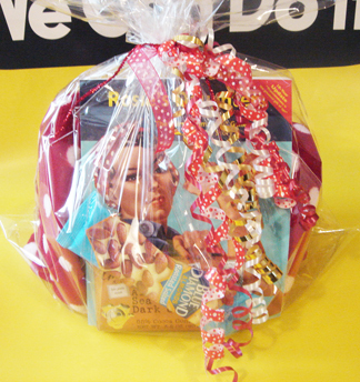 Rosie the Reader gift basket