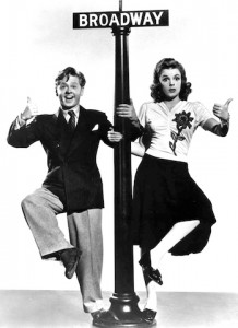Judy Garland and Mickey Rooney starred in a series of films about kids bringing their show to Broadway